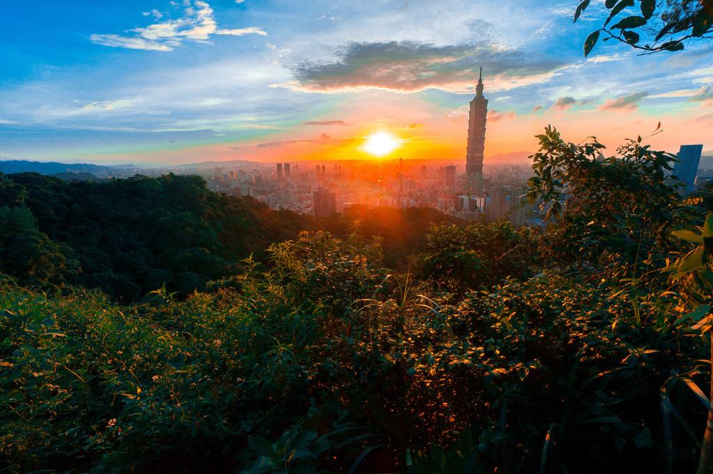 象山からの台北市内の風景