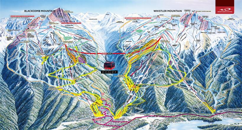 ウィスラースキー場の全体コース図