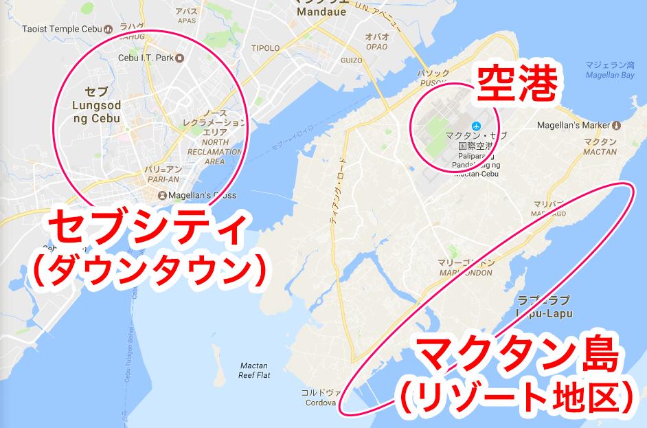 セブの各主要エリア地図