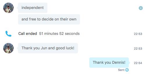 Skypeのテキストチャット