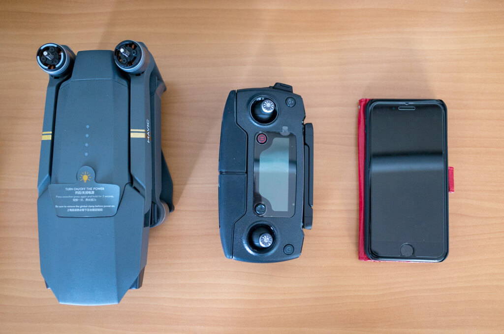 Mavic ProとiPhone7のサイズ比較