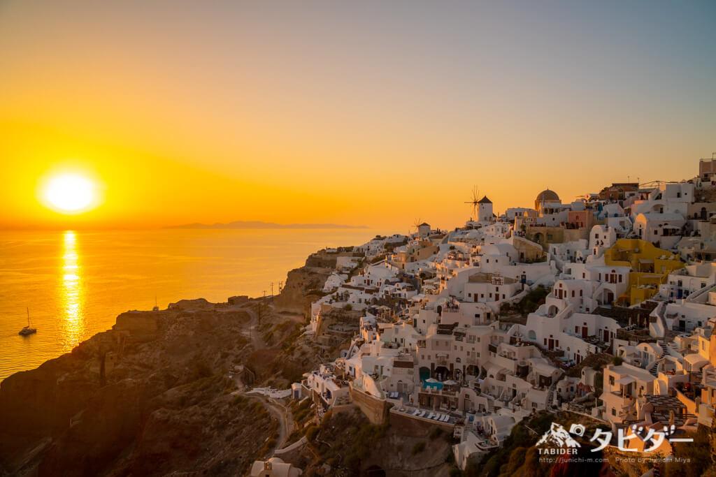 サントリーニ島の世界一の夕日