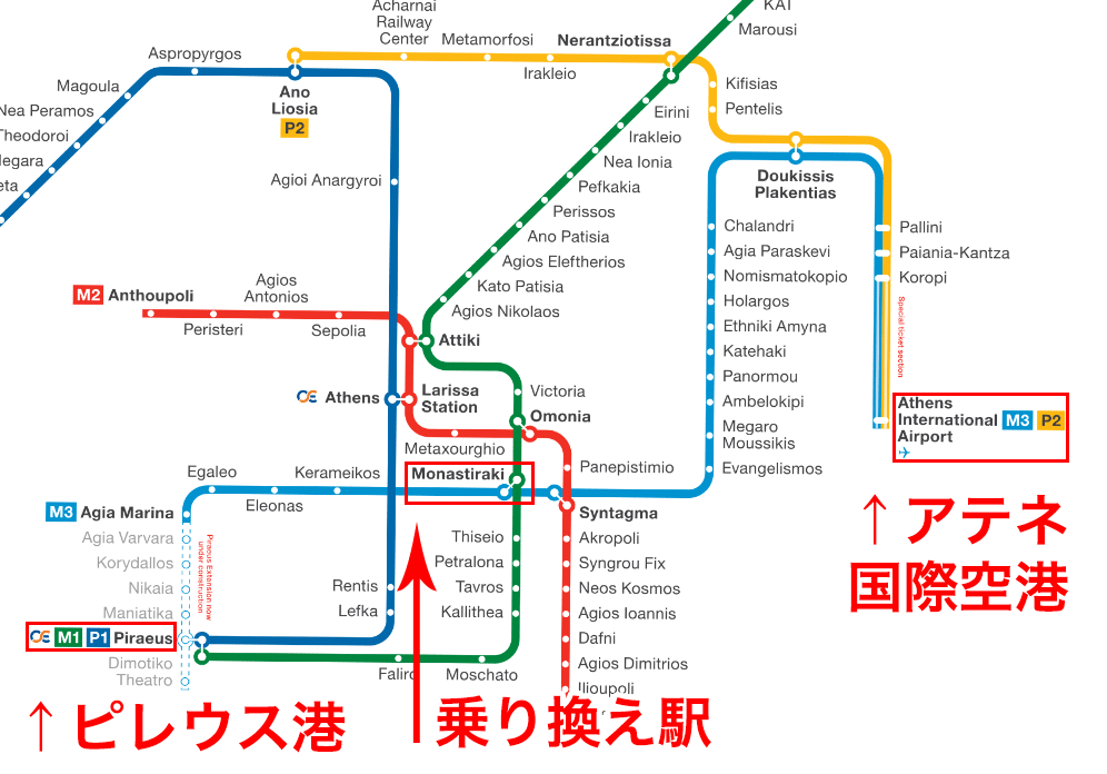 アテネの地下鉄マップ