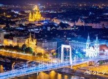 エルジェーベト橋とブダペストの夜景