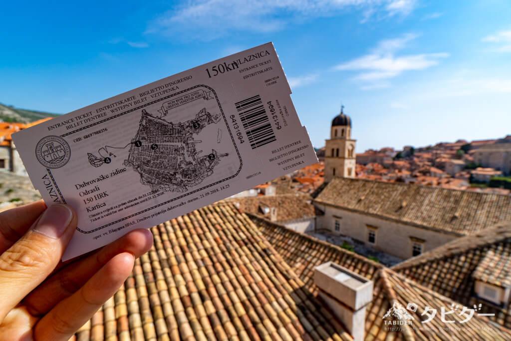 ドブロブニク城壁のチケット(150kn)