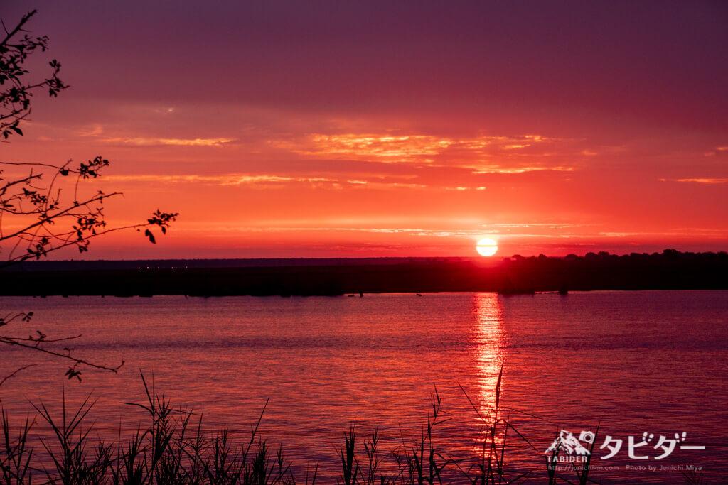 チョベサファリロッジから見える夕日