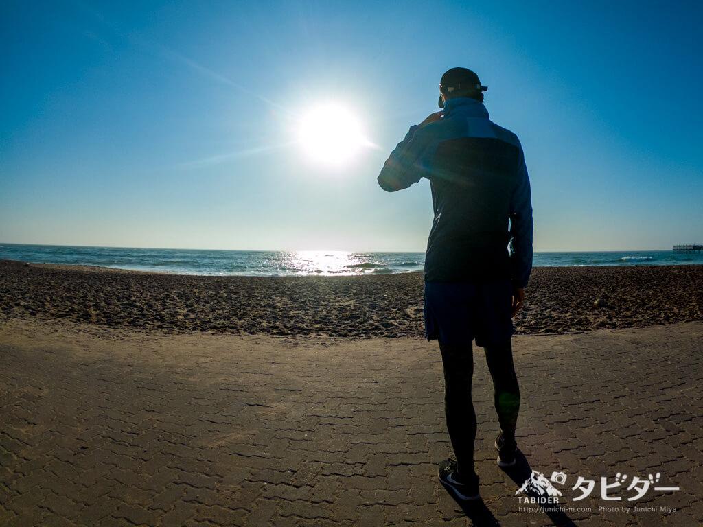 海岸でのランニング