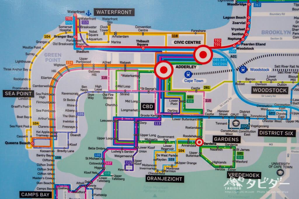 ケープタウン中心部のバス路線図