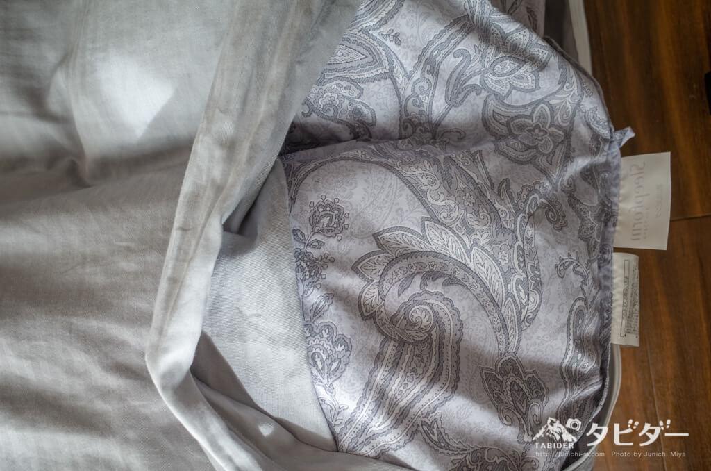 東京西川の羽毛布団のグレー色柄
