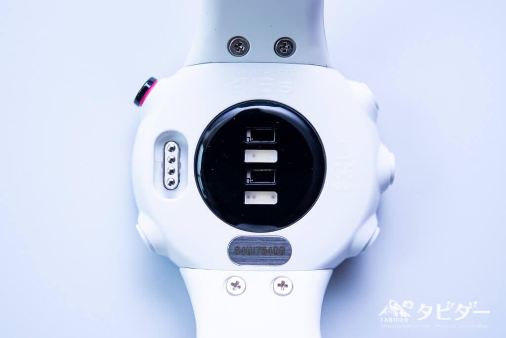 ForeAthlete 45sの光学式心拍センサー