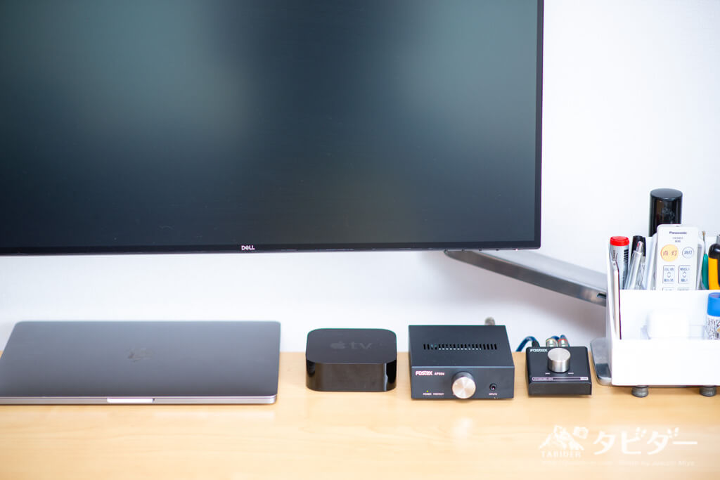 MacbookPro12インチ、AppleTV 4K、FOSTEX Ap20d、PC100USB-HR2