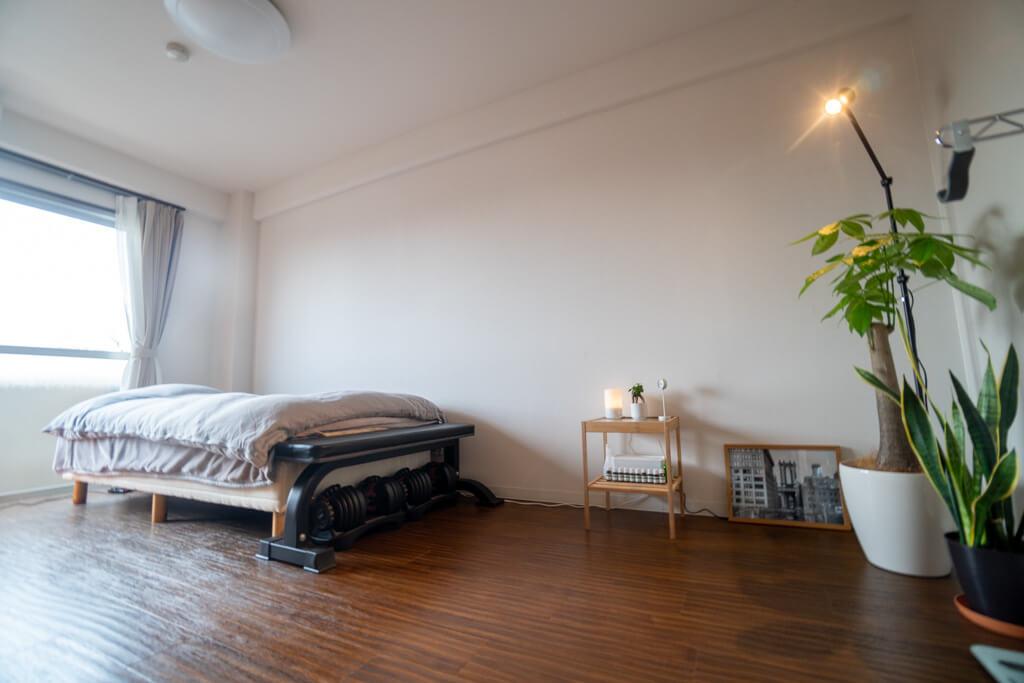 寝室と観葉植物&間接照明