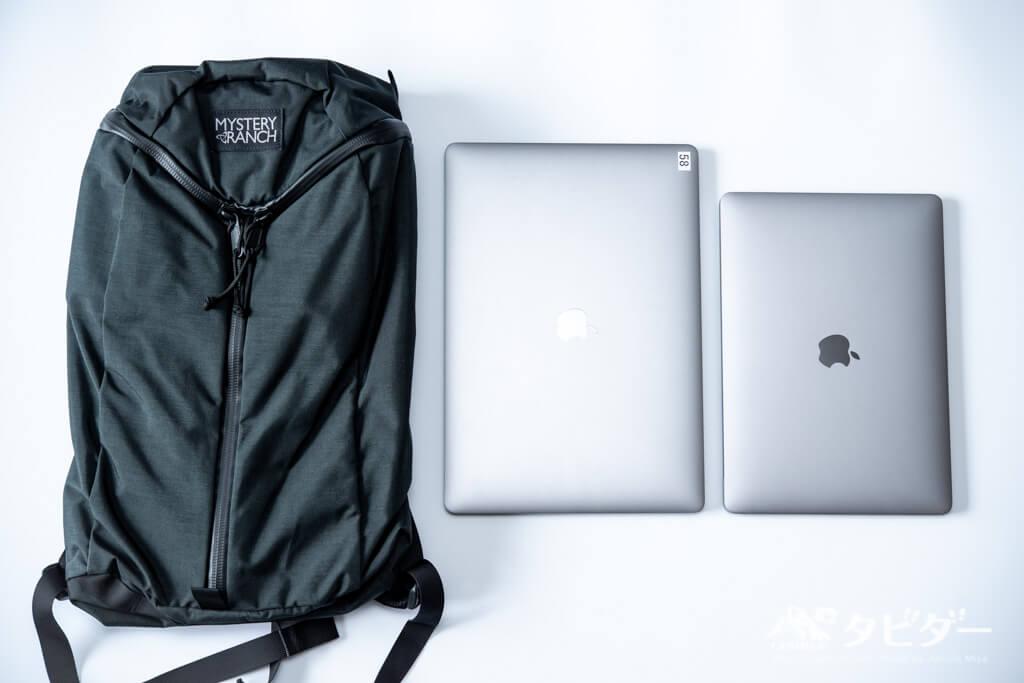 ミステリーランチ・アーバンアサルト21とMacBookPro13インチ、15インチを並べてみた